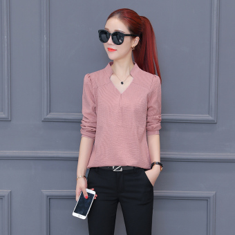 Loose chiffon female Spring and Autumn New style Top shirt (Pink)