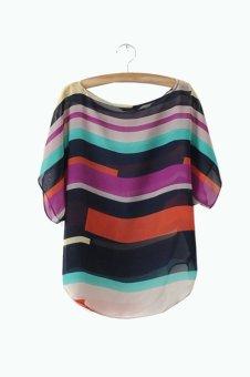 Loose Chiffon Tops Blouses T-Shirt Multicolour