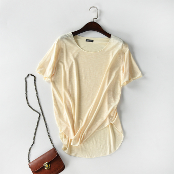Loose cotton Female Summer Plus-sized long T-shirt (Beige) (Beige)