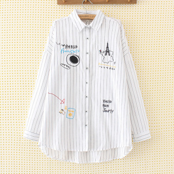 Loose cotton linen female Tibetan meat autumn shirt Plus-sized shirt (White striped)
