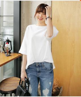Loose cotton plain white short-sleeved t-shirt round neck hem Female Summer