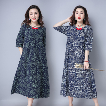 Loose cotton Plus-sized half-sleeve shirt skirt dress (Dark blue color) (Dark blue color)