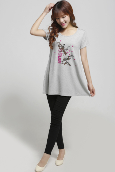 Loose cotton short-sleeved female Print T-shirt (Gray bird Print)