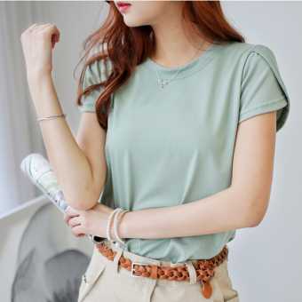 Loose cotton short-sleeved women T-shirt (Light Green)