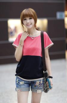 Loose cotton summer dress round neck bat shirt (Red)