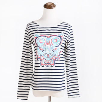 Loose cute black and white female long-sleeved Top T-shirt