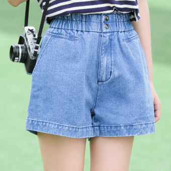 Loose elastic waist high-waisted slimming shorts Korean-style denim pants