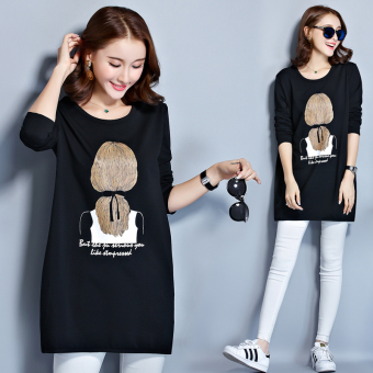 Loose female mid-length Plus-sized Top Korean-style long-sleeved t-shirt (801 paragraph black)