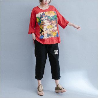 Loose female New style printed Top T-shirt (Orange) (Orange)