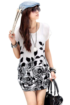 Loose Flower Print Mini Dress (White)