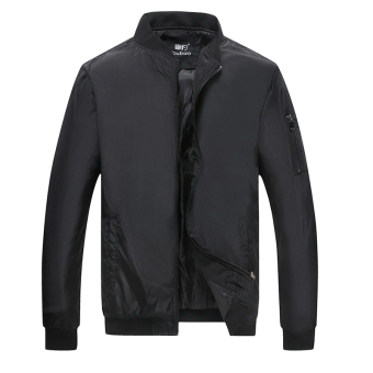 Loose green autumn New style father jacket men's jacket (Black)