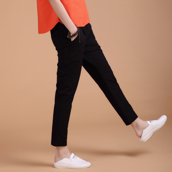 Loose high-waisted stretch pants feet casual pants (Black) (Black)
