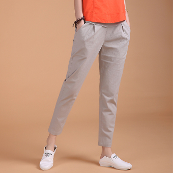 Loose high-waisted stretch pants feet casual pants (Silver color) (Silver color)