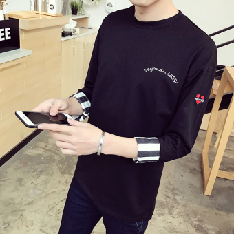 Loose indie autumn sleeve T-shirt (Black)