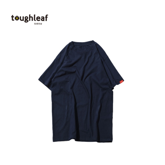 Loose Japanese-style solid color thick round neck t-shirt (Dark blue color) (Dark blue color)