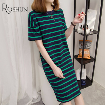 Loose Korean cotton female short-sleeved dress long section T-shirt (Green striped)