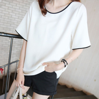 Loose Korean Plus-sized short-sleeved round neck t-shirt female Top (Black)