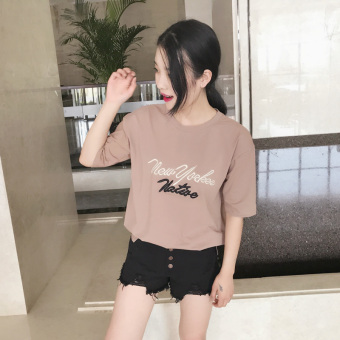 Loose Korean solid color T-shirt short-sleeved Female Summer (Casual)