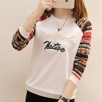 Loose Korean-style autumn New style Women's round neck long-sleeved t-shirt