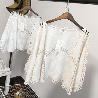 Loose Korean Style Autumn Porous Lace Cardigan White Prices ...