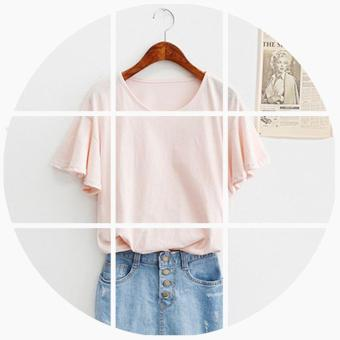 Loose Korean-style bamboo cotton horn sleeve bottoming T-shirt solid color Top (Pink color)