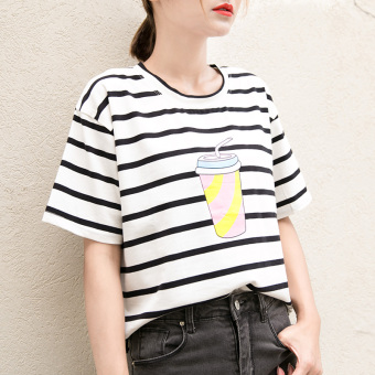 Loose Korean-style black and white female striped Short sleeve Top T-shirt (027 black and white striped)