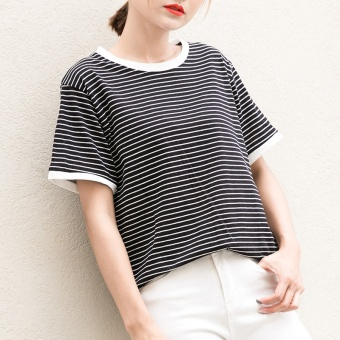 Loose Korean-style black and white female striped Short sleeve Top T-shirt (6650 black striped)
