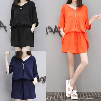 Loose Korean-style chiffon female XL shorts two piece suit (Dark blue color) (Dark blue color)