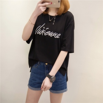 Loose Korean-style cotton female short-sleeved student Top T-shirt (Black)