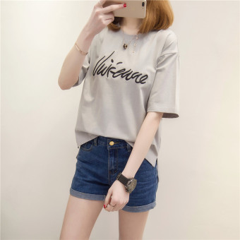 Loose Korean-style cotton female short-sleeved student Top T-shirt (Gray)