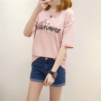 Loose Korean-style cotton female short-sleeved student Top T-shirt (Pink)