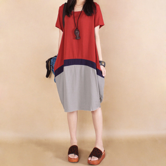 Loose Korean-style cotton linen slimming short sleeved dress medium-length dress (Blue) (Blue)