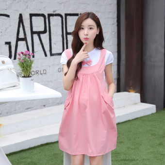 Loose Korean-style cotton mid-length maternity dress Dress (Pink short sleeved) (Pink short sleeved)