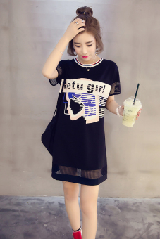 Loose Korean-style cotton porous short sleeved t-shirt shirt T-shirt dress (Black (short-sleeved)) (Black (short-sleeved))