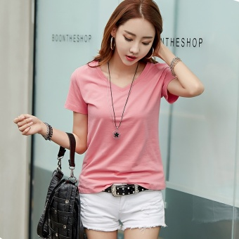 Loose Korean-style cotton solid color female bottoming shirt white short-sleeved t-shirt (Pink)