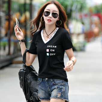 Loose Korean-style cotton white Plus-sized small shirt T-shirt (Black)