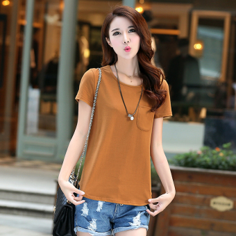 Loose Korean-style cotton women bottoming shirt summer short-sleeved t-shirt (Light brown)