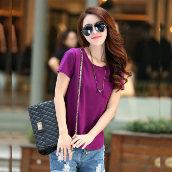 Loose Korean-style cotton women bottoming shirt summer short-sleeved t-shirt (Violet)