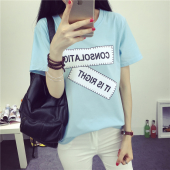 Loose Korean-style female New style Plus-sized compassionate shirt T-shirt (362 (blue)) Price Philippines