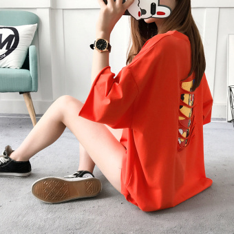 Loose Korean-style female New style sleeve T-shirt (Orange)