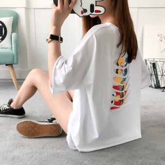 Loose Korean-style female New style sleeve T-shirt (White)