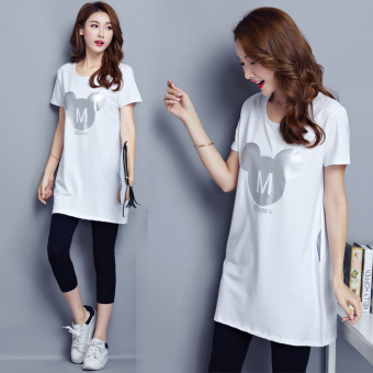 Loose Korean-style female Plus-sized on the women's bottoming shirt T-shirt (6003 white)