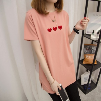 Loose Korean-style female Plus-sized short-sleeved Top T-shirt (Champagne Powder)