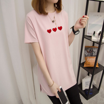 Loose Korean-style female Plus-sized short-sleeved Top T-shirt (Lotus pink)