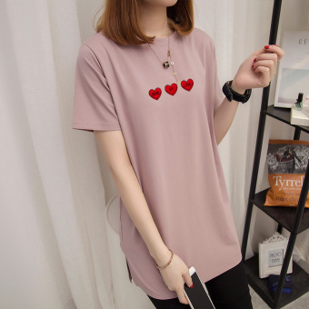 Loose Korean-style female Plus-sized short-sleeved Top T-shirt (Smoke purple)