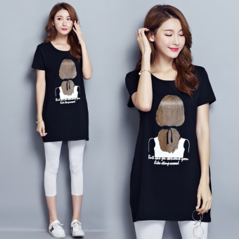 Loose Korean-style female short-sleeved Slimming effect bottoming shirt T-shirt (6001 paragraph black)