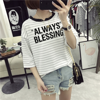 Loose Korean-style female slimming V-neck Top Striped short sleeved t-shirt (8301 * white) (8301 * white)