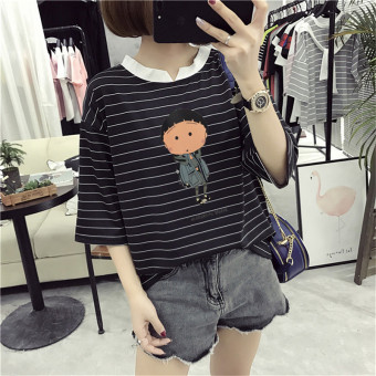 Loose Korean-style female slimming V-neck Top Striped short sleeved t-shirt (8306 * Black) (8306 * Black)