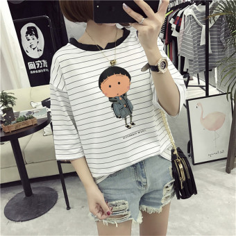 Loose Korean-style female slimming V-neck Top Striped short sleeved t-shirt (8306 * white) (8306 * white)