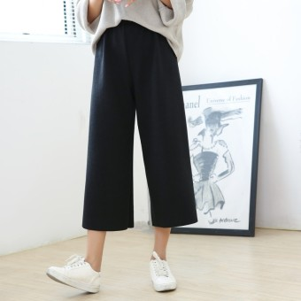 Loose Korean-style knitted high-waisted Plus-sized wide leg pants (Black) (Black)